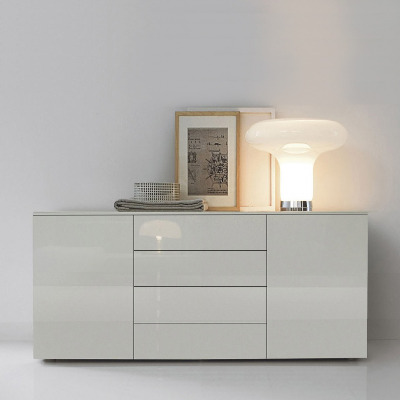 space modern white gloss sideboard 150cm. Black Bedroom Furniture Sets. Home Design Ideas