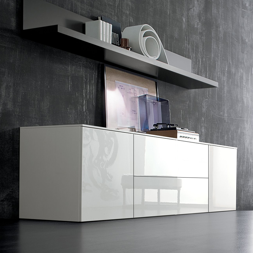 Space white large high gloss sideboard 240cm for Sideboard 240 cm