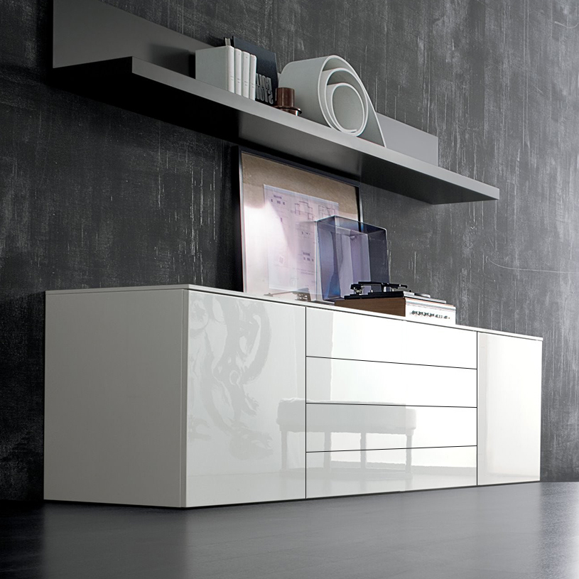 Space White Large High Gloss Sideboard 240cm