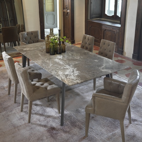 Pebble Marble Dining Table, Metal Legs