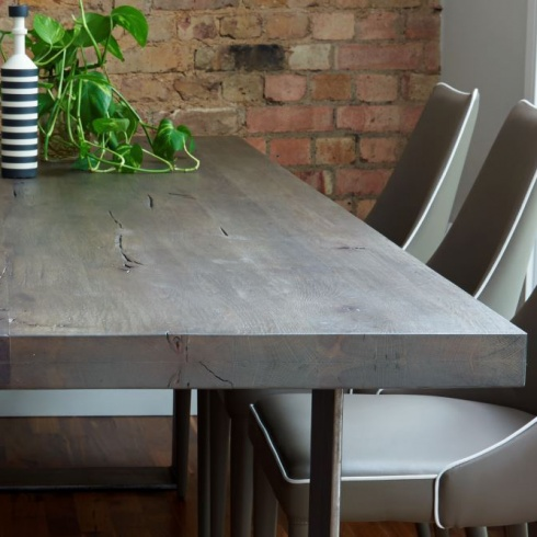 Rustik Solid Wood & Metal Dining Table, Linear Leg