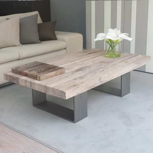 Modena Distressed Wood Metal Coffee Table