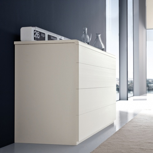Graffiti Modern White Wide Chest of Drawers - Amode.co.
