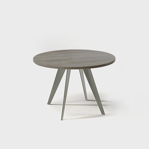 orbit round oak & metal dining table, designer