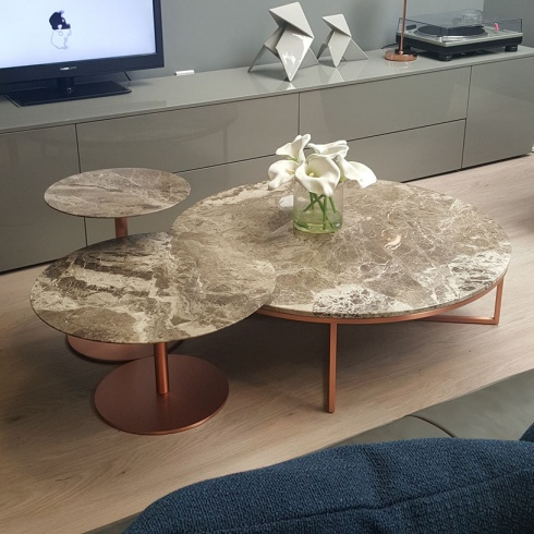 Ex-Display: Porto/Opera Set of 3 Marble Tables - Perfetto Brown Marble