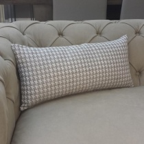 Houndstooth Mono String Cushion. Rectangle.