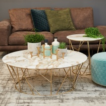 Ex-Display: Fern Calacatta Gold Marble Coffee Table, D100cm