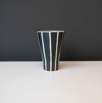 Black and White Striped Ceramic Décor Cup