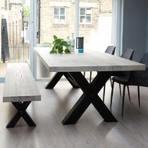 Ex-Display: Rustik Solid Wood & Metal, Cross-Frame Leg Dining Table and Bench Set