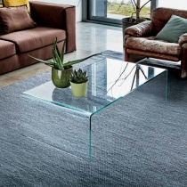 Move Modern Bent Glass Coffee Table, Rectangle