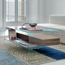 Move Glass Coffee Table with Drawer & Shelf