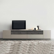 Space TV Unit, with Stopsol Glass Drop-Down Doors (ST270D) 270cm