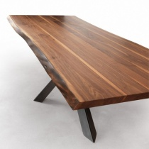 Velocity Solid Walnut Dining Table, Metal Star Base