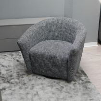 Ex-Display: Boutique Swivel Armchair - Grey Weave Fabric