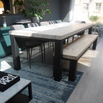 Ex-Display: Chelsea Solid Wood & Metal Dining Table with Matching Bench in Sand