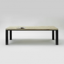From Stock: Chelsea Solid Wood & Metal Dining Table with Matching Bench in Sand