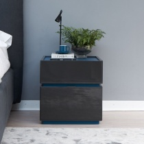 Ex-Display: Como Set of 2 Bedside Units - Anthracite Gloss
