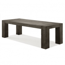 From Stock: Empire Solid Wood Dining Table with Matching Bench in Smoked Grey