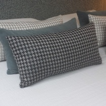 Houndstooth Mono Night Shadow Cushion. Rectangle.