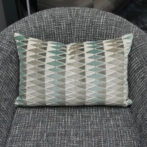 Ex-Display: 21'' x 13'' Rectangle Cushion. Lerwick Verdigris Fabric