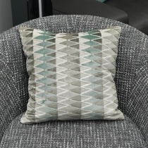 Ex-Display: 16'' x 16'' Square Cushion. Lerwick Verdigris Fabric