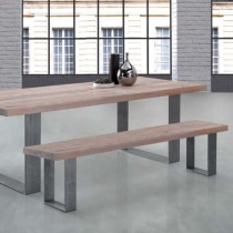Modena Solid Wood & Metal Dining Bench