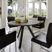 Modena Solid Wood & Metal Modern Round Dining Table