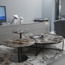 Ex-Display: Porto/Opera Set of 3 Marble Tables - Black & Gold Marble