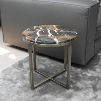 Ex-Display: Porto Round Side Table - Black & Gold Marble