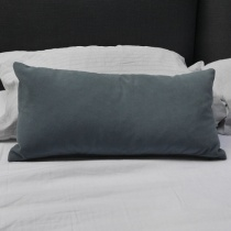 Ex-Display: 21'' x 10'' Rectangle Cushion. Smooth Storm Cloud Fabric