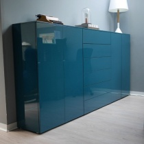 Ex-Display: Storage Cupboard in Teal High Gloss