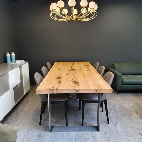 Ex-Display: Modena Distressed Solid Oak & Raw Iron Dining Table