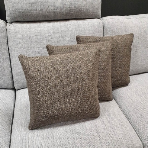 Clearance: Loop Taupe Fabric Cushions (Set of 3)