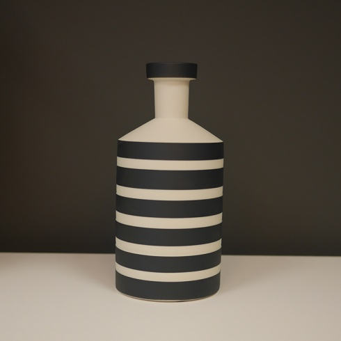 Black and White Striped Ceramic Object, H24cm