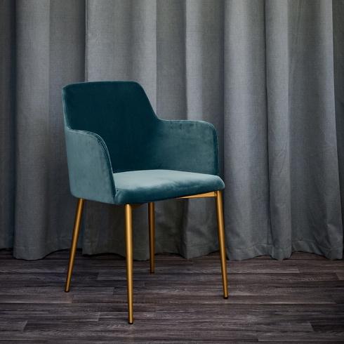 New Dolce Teal Velvet & Brass Dining Chair, Modern YU04