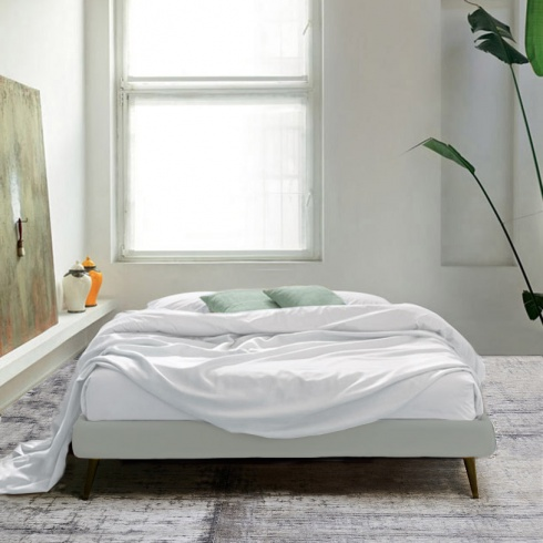 Frame Minimal Bed Without Headboard White