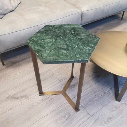 Ex-Display: Hex Side Table - Verde Guatemala Marble, Antique Gold