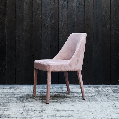 Bella Fabric Dining Chair Blush Pink Velvet