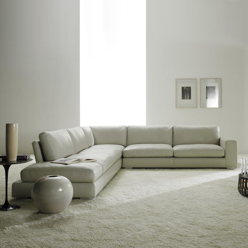 Relax Luxury Cream Leather Corner Sofa
