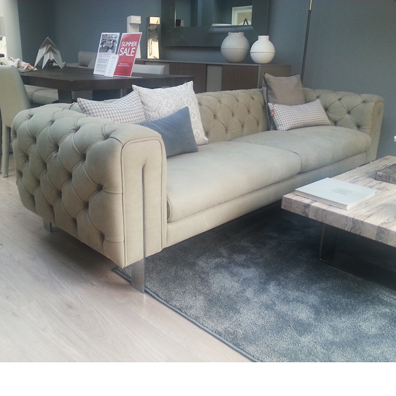 Ex Display Montague Extra Large Leather Chesterfield Sofa L254cm
