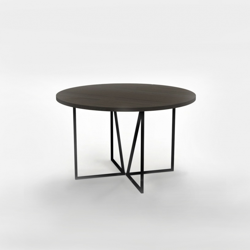 Apollo Round Solid Wood Metal Dining Table Modern