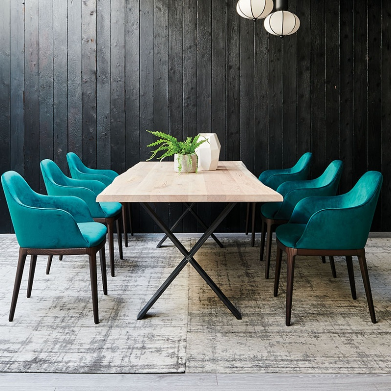 Ex Display Form Dining Chairs Teal Velvet Set Of 6