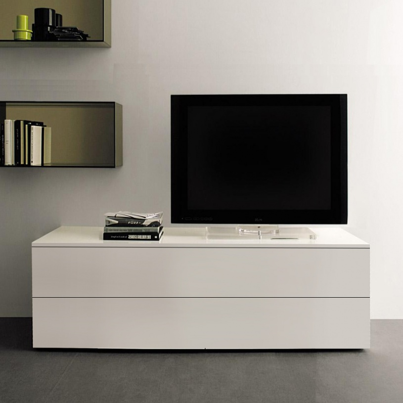 WHITE TV Cabinet TV Unit Entertainment Stand 120cm Modern with Doors NEW