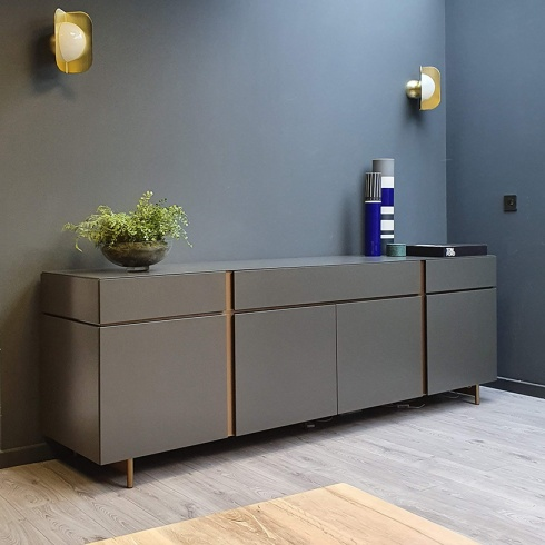 Ex-Display: Muse Sideboard, Dark Grey & Bronze with LED Light