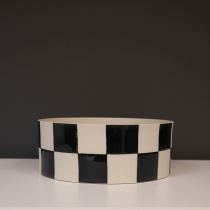 Black and White Chequered Ceramic Centerpiece, D26cm