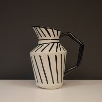 Black and White Striped Ceramic Jug, H28cm
