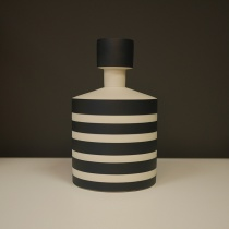 Black and White Striped Ceramic Object, H20cm