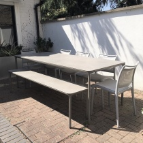 Ex-Display: Fino & Sky Outdoor Dining Set with Matching Bench and Chairs (set of 5)