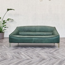 Ex-Display: Halo Leather Sofa in Fern Africa Nubuk