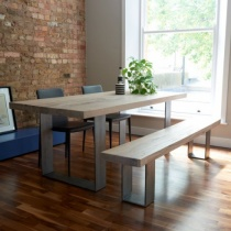 From Stock: Rustik Wood & Metal Dining Table, Linear Leg